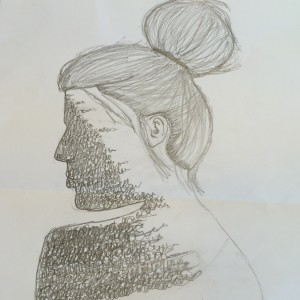 Sketch of woman with writing on face by M.